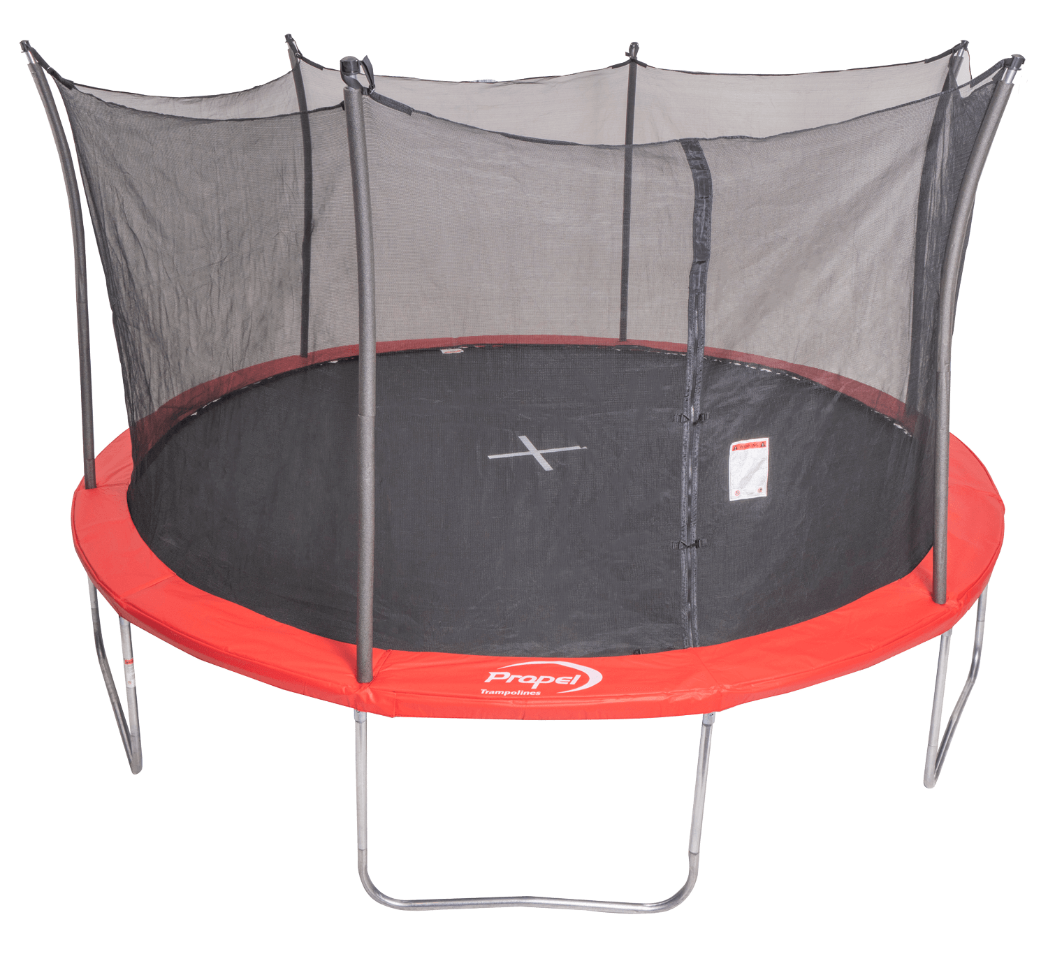 red propel trampoline with safety features